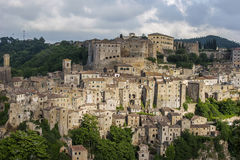 View of ancient town of Sorano, Italy. View of ancient town of Sorano in Italy Stock Images