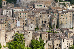 View of ancient town of Sorano, Italy. View of ancient town of Sorano in Italy Stock Image