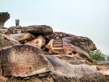 Caves of Udayagiri. View of Ancient Udayagiri caves situated at Khandagiri hills of Bhubaneswar stock image
