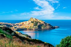 View of ancient village on the coast. View of ancient village of Castelsardo - Sardinia in a cloudy day of spring, europe, tourism, italy, italian, island royalty free stock photography