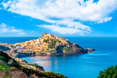 View of ancient village on the coast. View of ancient village of Castelsardo - Sardinia in a cloudy day of spring, europe, tourism, italy, italian, island stock images