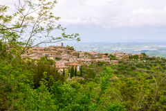 View of the ancient village. This picture was taken on a cloudy day. However, from this lovely place are no less beautiful Royalty Free Stock Photography