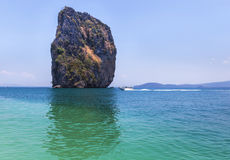 View of andaman sea with blue sky background at po da island, krabi Thailand Royalty Free Stock Image