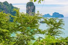 View of the Andaman Sea in Thailand through the foliage Royalty Free Stock Image
