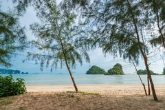 View of the Andaman Sea Thailand from the shadows Stock Images