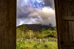 View of the Andean mountains. Of central Colombia from the door of a carpenter workshop, near the colonial town of Villa de Leyva, in the Andean mountains of royalty free stock images