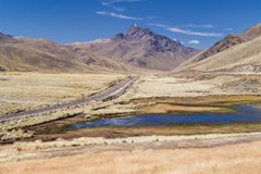 View of Andes mountains, small lake and railroad in  Peru Stock Image