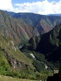 View of Andes and Urubamba river Stock Photos