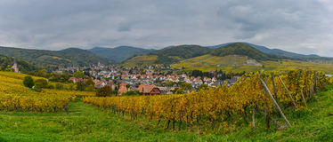 View of Andlau village and church in autumn, Alsace, France Stock Images