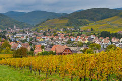 View of Andlau village and church in autumn, Alsace, France Royalty Free Stock Image