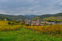 View of Andlau village and church in autumn, Alsace, France Stock Photo