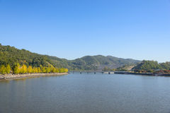 View of Andong Dam in Korea Royalty Free Stock Photography