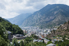 View of the Andorra la Vella, Andorra. Panoramic Aerial view of the Andorra la Vella, Andorra stock images