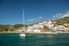 View of the Andros island, Aegean sea. Stock Photography