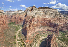 View from Angels Landing rock formation in Zion National Park. Stock Photography