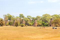 View of Angkor, Siem Riep, Cambodia. View of area in Angkor, Siem Riep, Cambodia. The lake in front of the Angkor Wat where tourist commonly stand here to take Royalty Free Stock Image