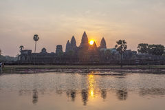 View of Angkor, Siem Riep, Cambodia. View of dawn in Angkor area, Siem Riep, Cambodia. The lake in front of the Angkor Wat where tourist commonly stand here to Stock Photography