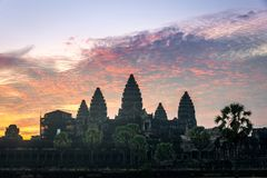 View of Angkor Wat in sunrise time with a beautiful twilight sky in Siem Reap, Cambodia. Beautiful view of Angkor Wat in sunrise time with a beautiful twilight royalty free stock photography