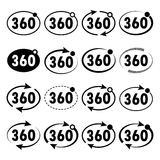 View angle 360 degrees icon. Vector illustration. Three hundred sixty degrees view signs on light background. Set of 360 degrees icon. Vector illustration Royalty Free Stock Photo