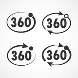 View angle 360 degrees icon. Vector illustration. Three hundred sixty degrees view signs on light background. Set of 360 degrees icon. Vector illustration Stock Photos