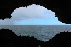 View from the Animal Flower Cave Barbados royalty free stock image