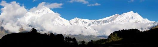 View from annapurna himal to dhaulagiri himal. Beautiful view from annapurna himal to dhaulagiri himal royalty free stock image