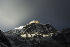 View of Annapurna I from Annapurna Base Camp Himalaya Mountains. In Nepal Royalty Free Stock Image