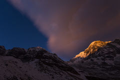View of Annapurna I from Annapurna Base Camp Himalaya Mountains Royalty Free Stock Photo