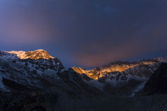 View of Annapurna I from Annapurna Base Camp Himalaya Mountains Royalty Free Stock Images