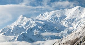 View of Annapurna 3. III, Annapurna range, way to Thorung La pass, Nepal royalty free stock photos