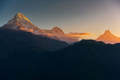 View of Annapurna and Machapuchare peak at Sunrise from Poonhill, Nepal. Stock Image