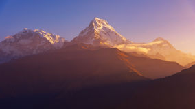 View of Annapurna and Machapuchare peak at Sunrise from Poonhill, Nepal. Royalty Free Stock Image