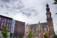 View of Anne Frank house and nearby church stock image