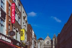 View of Anne Street in DUblin city centre with pubs and restaur. DUBLIN, IRELAND - April 14th, 2018: view of Anne Street in DUblin city centre with pubs and Royalty Free Stock Image