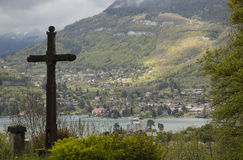 The view of Annecy lake royalty free stock photography