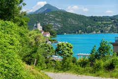 View of the Annecy lake in the french Alps Royalty Free Stock Photo