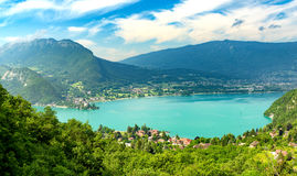 View of the Annecy lake. In the French Alps Royalty Free Stock Photos