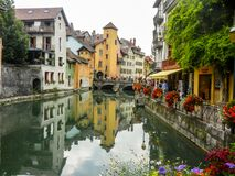 View of Annecy. With the river and buildings Royalty Free Stock Photo