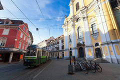 View of Annenstrasse street with typical green tram Royalty Free Stock Photo
