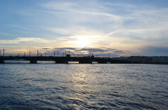 View of Annunciation bridge at sunset. Royalty Free Stock Image