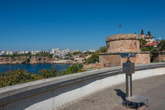 View of Antalya, Mediterranean sea and sightseeing telescope, Tu Stock Photography