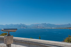View of Antalya, Mediterranean sea and sightseeing telescope, Tu Royalty Free Stock Photos