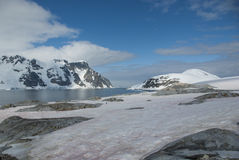 View of the Antarctic Peninsula to neighboring islands with a fl Stock Image