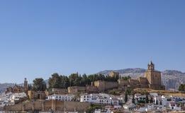 View of Antequera Alcazaba, Moorish fortress, Spain. View of Antequera Alcazaba, Moorish fortress erected in the 14th century, Malaga, Spain Stock Photos