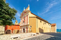 Antibes Cathedral and small town square royalty free stock image
