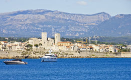 View of Antibes from the sea Stock Photo