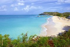 Darkwood beach in Antigua, Caribbean. View of Antigua beach in Antigua, Caribbean stock photo