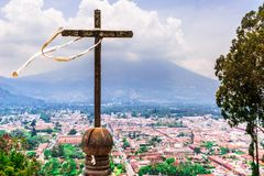 Antigua and volcano Acatenango from Cerro de la Cruz in Guatemala royalty free stock images