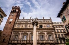 View at the antique Palazzo Maffei on Piazza delle Erbe in Verona royalty free stock image