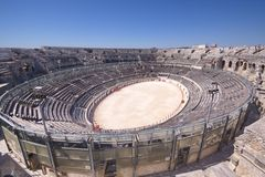 View of the antique theatre and arena of Nimes Stock Photo